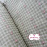 ผ้าทอญี่ปุ่น 1/4เมตร สีเขียวตาราง แต่งลายดอกเล็กสีชมพู