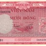 ธนบัตรเวียดนามใต้ รหัส P3a ชนิด 10 ดอง สภาพ UNC ไม่เคยผ่านการใช้งาน ปี 1955