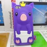 เคสไอโฟน 4/4s (Case Iphone 4/4s) เคสซิลิโคน หมูน้อย สีม่วง