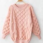 พร้อมส่ง ::MO270:: เสื้อกันหนาวไหมพรม แบบน่ารัก แขนยาว สีชมพู