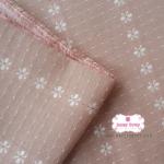 ผ้าทอญี่ปุ่น 1/4เมตร สีส้มโอรส ทอลายดอก