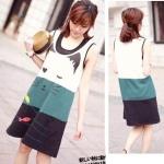 พร้อมส่ง ::MO048:: เดรสแฟชั่น เดรสสั้น แบบน่ารัก ผ้า Cotton ใส่สบาย สีเขียว