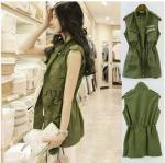 พร้อมส่ง ::MO258:: เสื้อแจ็คแก็ตแฟชั่น แขนกุด แบบน่ารัก สีเขียว