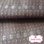 ผ้าทอญี่ปุ่น 1/4ม.(50x55ซม.) พื้นสีน้ำตาล ลายดอก