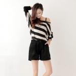 พร้อมส่ง ::MO166:: กางเกงขาสั้น แบบน่ารัก สีดำ