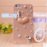 เคสไอโฟน 5/5s กรอบชมพูประดับมุก หัวใจกระต่ายหมีแพนด้า