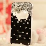 เคสไอโฟน 5/5s (Case Iphone 5/5s) ( เคสไอโฟนสีดำประดับเพชร รูปแกะน้อย )
