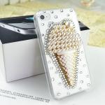 เคสไอโฟน 5/5s (Case Iphone 5/5s) ( เคสไอโฟนกรอบโปร่งใส ประดับเพชรมุก รูปไอศครีม )