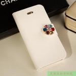 เคสไอโฟน 5/5s เคสไอโฟนกระเป๋าสีขาวประดับกระดุมเพชรดอกไม้หลากสี