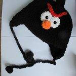 หมวกไหมขนแกะ แองกรี้เบิร์ทสีดำ รอบหัว 46 ซม.