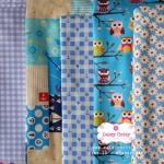 Set 5 ชิ้น : ผ้าคอตตอนไทย 5 ลาย โทนสีฟ้าแต่ละชิ้นขนาด1/8 ม.(50x27.5ซม.)