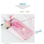 เคสไอโฟน 6 (เคสนิ่ม TPU) สีชมพูใส กระต่ายพร้อมสายคล้องคอ