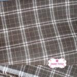 ผ้าทอญี่ปุ่น 1/4ม.(50x55ซม.) สีน้ำตาล ทอลายตารางตัดสีเทา