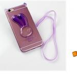 เคสไอโฟน 6 Plus (เคสนิ่ม TPU) สีม่วงใส กระต่ายพร้อมสายคล้องคอ