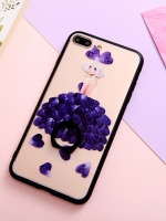 เคสไอโฟน 7 Plus (Silicone case and Hard case back) Purple Girl พร้อมห่วง