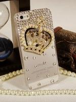 เคสไอโฟน 5/5s/SE (Case Iphone 5/5s/SE) เคสไอโฟนกรอบโปร่งใสประดับเพชร และมงกุฏเพชร