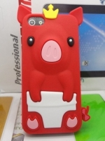 เคสไอโฟน 5/5s/SE (Case Iphone 5/5s/SE) เคสซิลิโคน หมูน้อย สีแดง