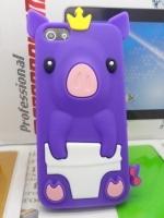 เคสไอโฟน 5/5s/SE (Case Iphone 5/5s/SE) เคสซิลิโคน หมูน้อย สีม่วง