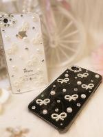 เคสไอโฟน 4/4s (Case Iphone 4/4s) กรอบโปร่งใส ประดับมุกผูกโบว์