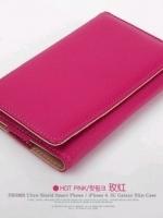 เคสไอโฟน 4/4s (Case Iphone 4/4s) เคสกระเป๋าหนังสีชมพูเข้ม