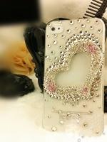 เคสไอโฟน 5/5s/SE (Case Iphone 5/5s/SE) ( เคสไอโฟนกรอบโปร่งใส ประดับเพชร รูปหัวใจ )
