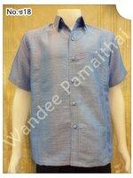 เสื้อไหมญี่ปุ่นชาย ซาฟารี (สีฟ้าอ่อน) ซ18M