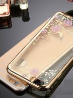 เคสไอโฟน 7 Plus (TPU CASE) Gold Pink Flower