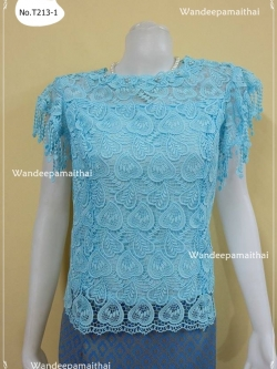 เสื้อลูกไม้คอตตอนเนื้อดีมาก ใส่สบาย ปักมุขรอบคอ NEW เบอร์ XL สีฟ้า