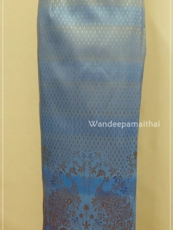 ผ้าถุงไหมสำเร็จรูป สีฟ้า