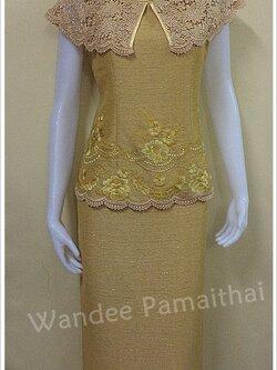 ชุดผ้าไหมญี่ปุ่นปักลาย แต่งด้วยลูกไม้นอก สีเหลืองไพร เสื้อ+กระโปรงยาว เบอร์ 38