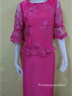 ชุดผ้าไหมญี่ปุ่น แต่งด้วยลูกไม้นอก แขนสามส่วน เสื้อ+กระโปรงยาว เบอร์ 38 สีบานเย็น