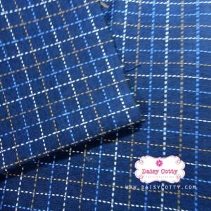 ผ้าทอญี่ปุ่น 1/4เมตร พื้นสัน้ำเงิน ลายตาราง