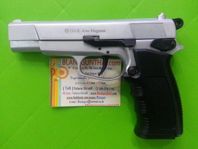 Ekol Browning(Aras Magnum) Nickel Front Firing 9mm PAK Blank Gun