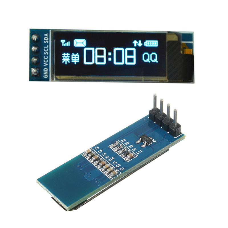 0.91 Inch 128x32 OLED LCD White//Blue Display Module SSD1306 For Arduino