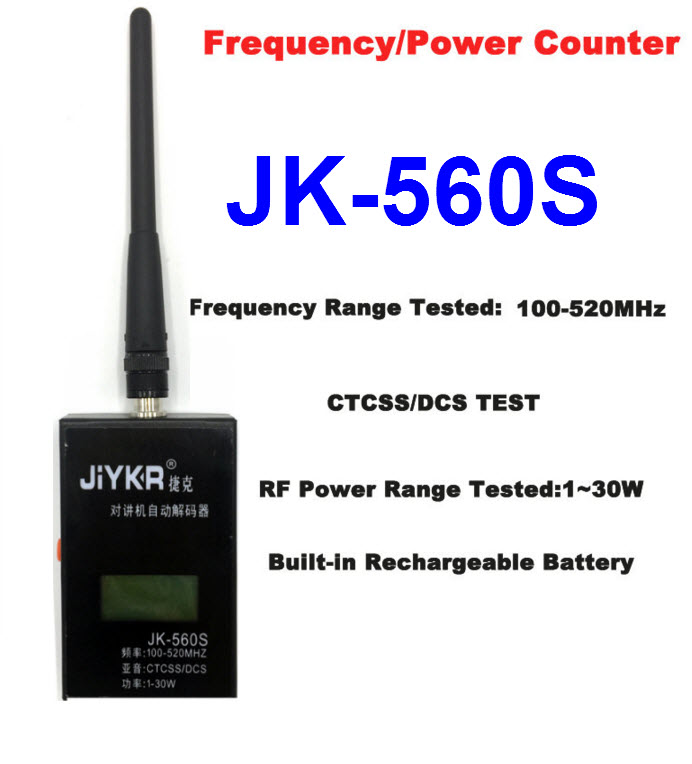 JK-560S Frequency Counter CTCSS/DCS Power decoder for Walkie talkie 100MHz-520MHz with SMA-Female antenna connector