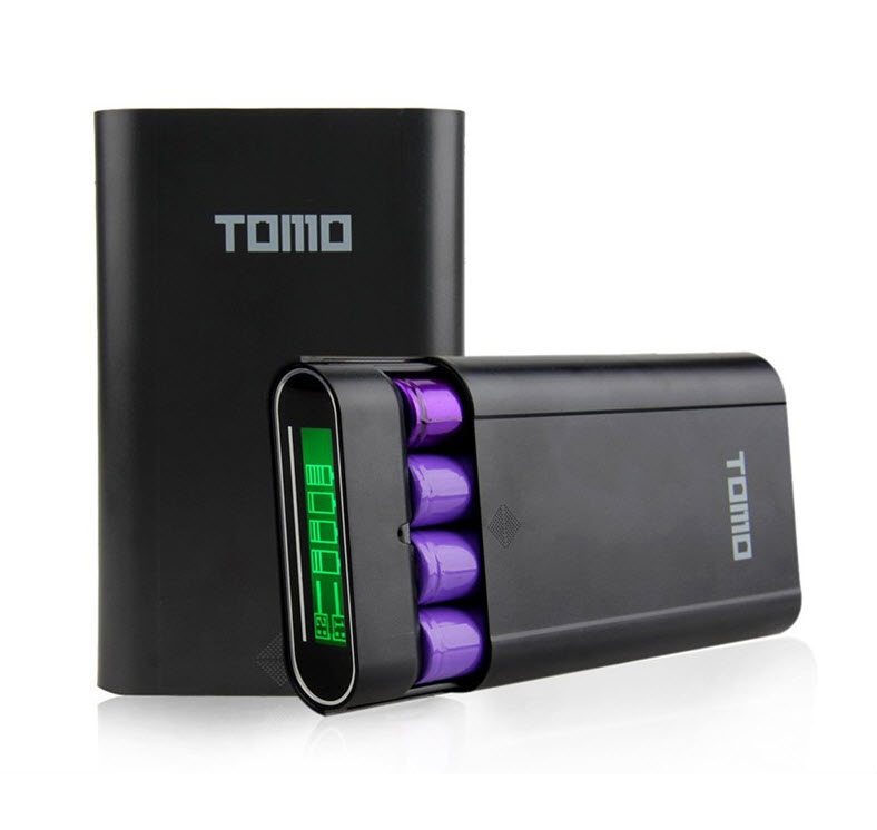TOMO V8-4 Intelligent Portable DIY Display Power Bank Box 18650 Battery (สีดำ)