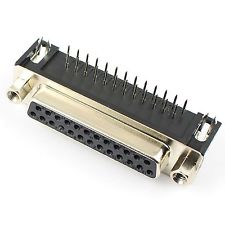 DB25 D-Sub Connector Right Angle 25Pins , Female