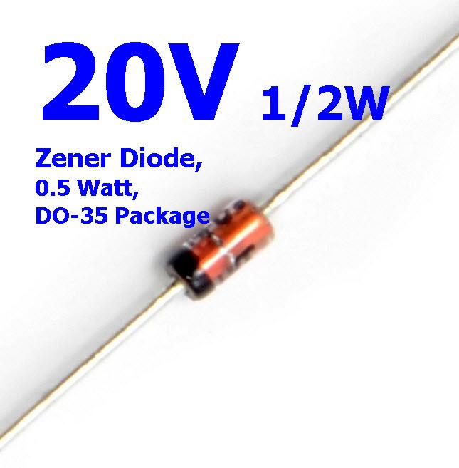 20V 1/2W Zener Diode, 0.5 Watt, DO-35 Package