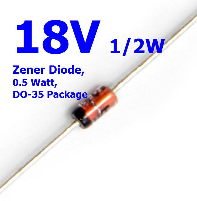 18V 1/2W Zener Diode, 0.5 Watt, DO-35 Package