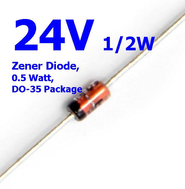 24V 1/2W Zener Diode, 0.5 Watt, DO-35 Package