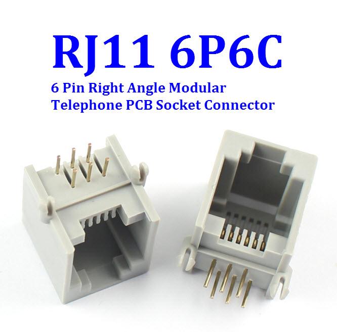 RJ11 6P6C Female PCB Mount Telephone Modular Connector