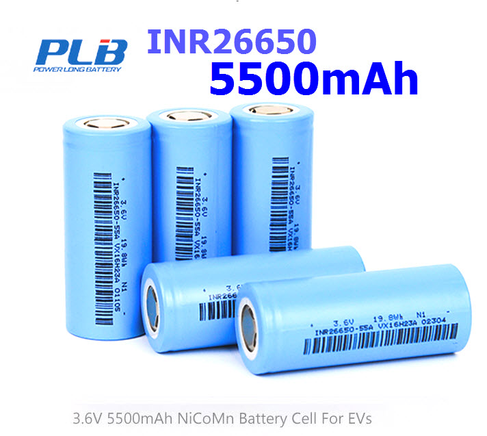 INR26650 5500mAh 15A 3.7v Rechargeable Flat Top
