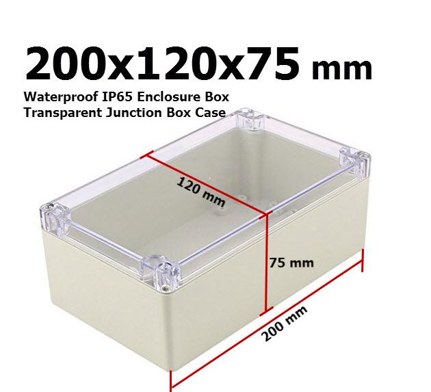 200x120x75 mm Waterproof IP65 Enclosure Box Transparent Junction Box Case