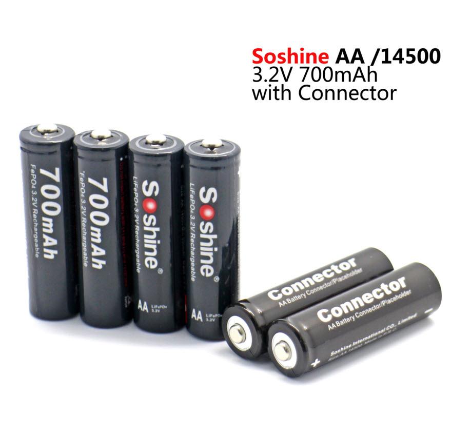 4 pcs Soshine AA /14500 LiFePO4 700mAh 3.2V