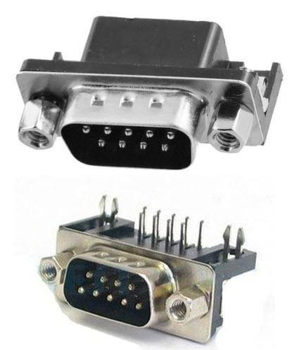 DB9 D-Sub Connector Right Angle 9Pins , Male