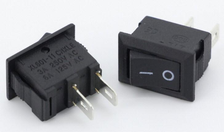 KCD1- XL601-11 2Pin 2 Position SPST ON-OFF Rocker Switch 3A/250V 6A/125V (15mm)