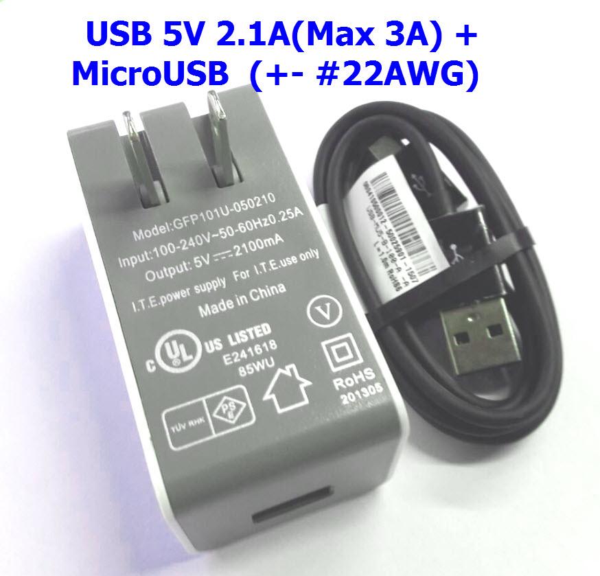 5V 2.1A (peak 3A) Power Adapter + MircoUSB for Raspberry Pi