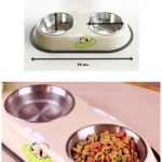 ชามอาหารสุนัขและแมวแบบคู่
