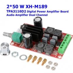 2*50W XH-M189 high end digital power amplifier board TPA3116D2 DC24V dual channel stereo power amplifier board