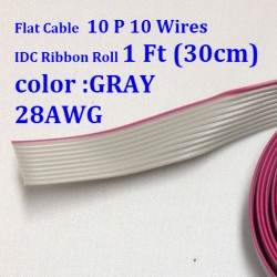 30 cm Flat Cable 10 Wires 10p IDC Ribbon Roll 1 Ft